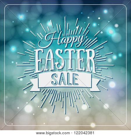 Happy Easter Greeting Card. Hand Drawn Lettering Design Label On Defocus Background. Easter Holidays