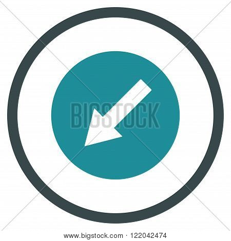 Down-Left Rounded Arrow vector icon. Style is bicolor flat rounded iconic symbol, down-left rounded arrow icon is drawn with soft blue colors on a white background.