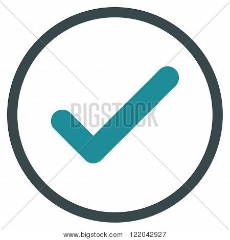Ok vector icon. Style is bicolor flat rounded iconic symbol, ok icon is drawn with soft blue colors on a white background.