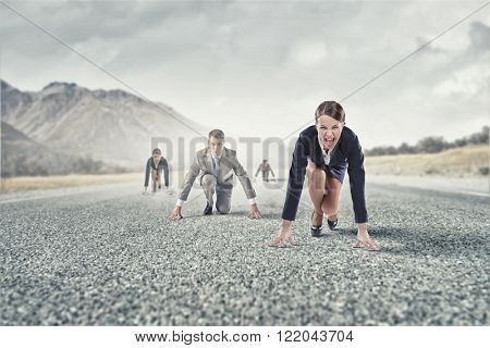 Business people running race