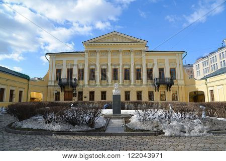 Moscow, Russia - March 14, 2016. The library name of the poet Pushkin, the former estate Mamontov