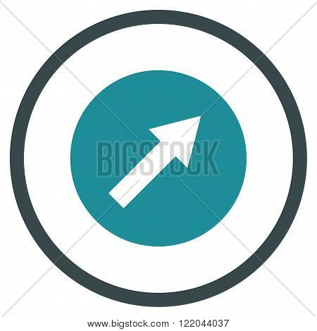 Up-Right Rounded Arrow vector icon. Style is bicolor flat rounded iconic symbol, up-right rounded arrow icon is drawn with soft blue colors on a white background.