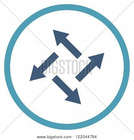 Centrifugal Arrows vector icon. Style is bicolor flat rounded iconic symbol, centrifugal arrows icon is drawn with cyan and blue colors on a white background.