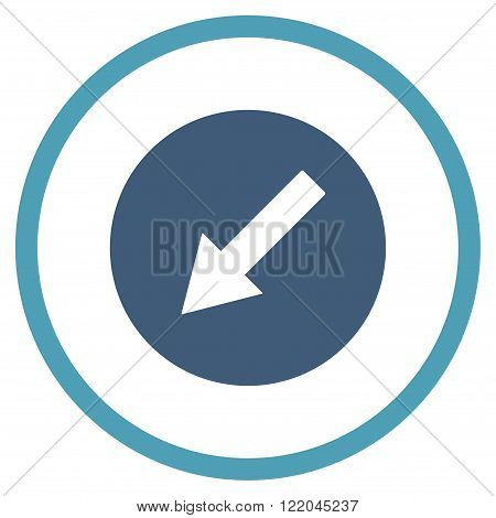 Down-Left Rounded Arrow vector icon. Style is bicolor flat rounded iconic symbol, down-left rounded arrow icon is drawn with cyan and blue colors on a white background.