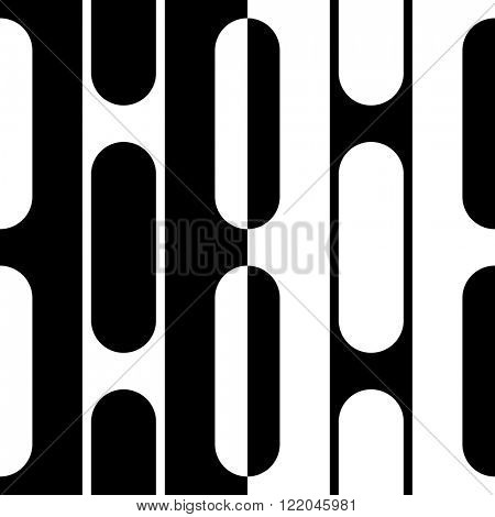Seamless Vertical Stripe and Ellipse Pattern. Vector Black and White Background
