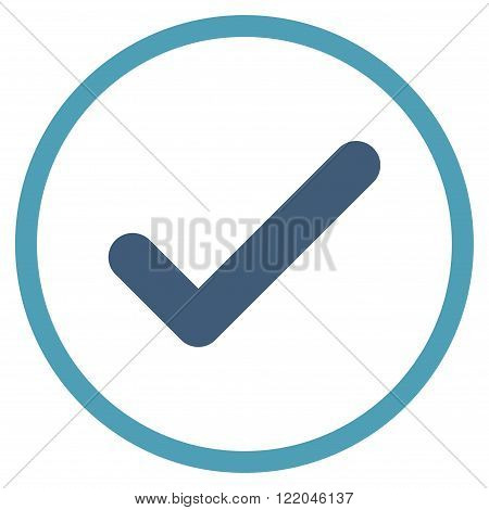 Ok vector icon. Style is bicolor flat rounded iconic symbol, ok icon is drawn with cyan and blue colors on a white background.