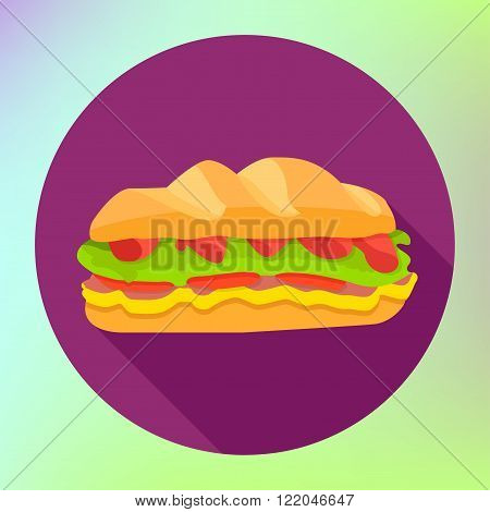 Sandwich flat fast food icon