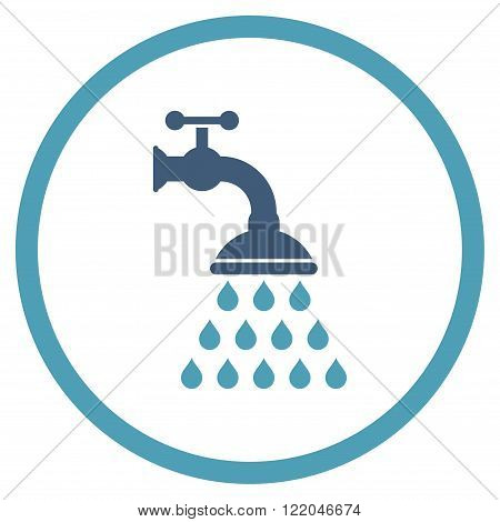 Shower Tap vector icon. Style is bicolor flat rounded iconic symbol, shower tap icon is drawn with cyan and blue colors on a white background.