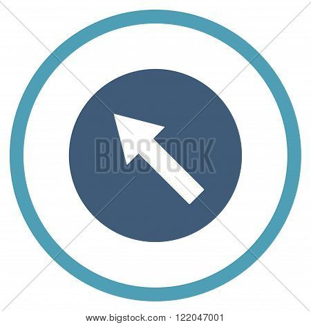 Up-Left Rounded Arrow vector icon. Style is bicolor flat rounded iconic symbol, up-left rounded arrow icon is drawn with cyan and blue colors on a white background.