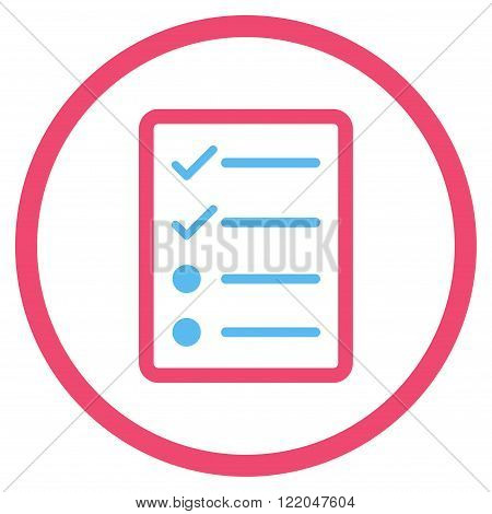 Checklist Page vector icon. Style is bicolor flat rounded iconic symbol, checklist page icon is drawn with pink and blue colors on a white background.