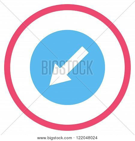 Down-Left Rounded Arrow vector icon. Style is bicolor flat rounded iconic symbol, down-left rounded arrow icon is drawn with pink and blue colors on a white background.