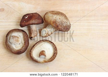 Shiitake mushrooms vegetable on brown wooden table