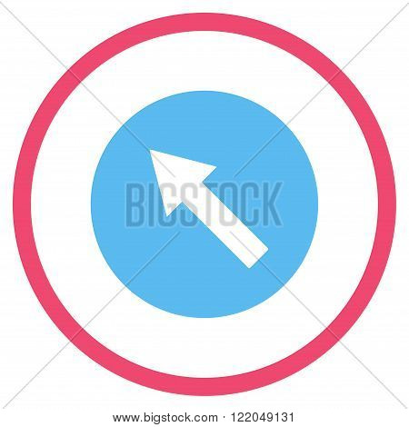 Up-Left Rounded Arrow vector icon. Style is bicolor flat rounded iconic symbol, up-left rounded arrow icon is drawn with pink and blue colors on a white background.