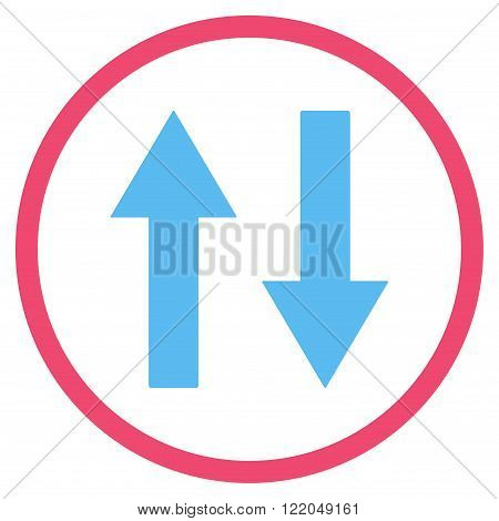 Vertical Flip Arrows vector icon. Style is bicolor flat rounded iconic symbol, vertical flip arrows icon is drawn with pink and blue colors on a white background.