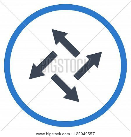 Centrifugal Arrows vector icon. Style is bicolor flat rounded iconic symbol, centrifugal arrows icon is drawn with smooth blue colors on a white background.