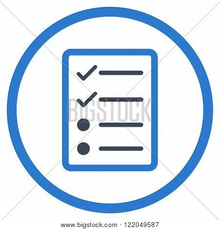 Checklist Page vector icon. Style is bicolor flat rounded iconic symbol, checklist page icon is drawn with smooth blue colors on a white background.