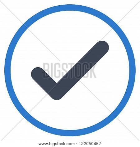 Ok vector icon. Style is bicolor flat rounded iconic symbol, ok icon is drawn with smooth blue colors on a white background.