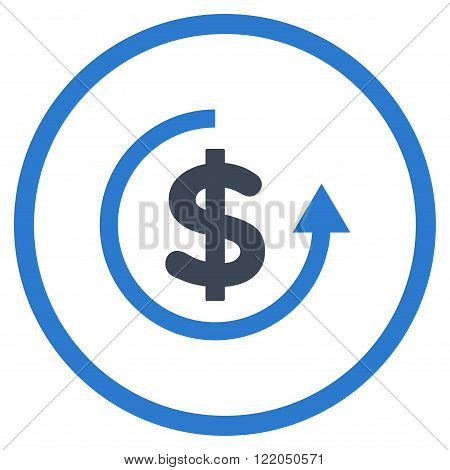 Refund vector icon. Style is bicolor flat rounded iconic symbol, refund icon is drawn with smooth blue colors on a white background.
