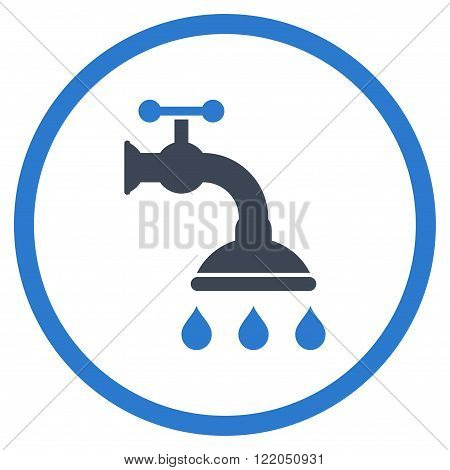 Shower Tap vector icon. Style is bicolor flat rounded iconic symbol, shower tap icon is drawn with smooth blue colors on a white background.