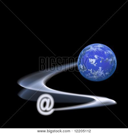 Internet symbol with computer generated planet. Concepts: speedy communications