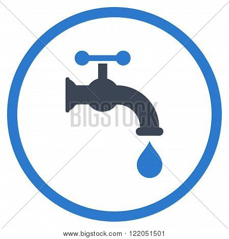 Water Tap vector icon. Style is bicolor flat rounded iconic symbol, water tap icon is drawn with smooth blue colors on a white background.