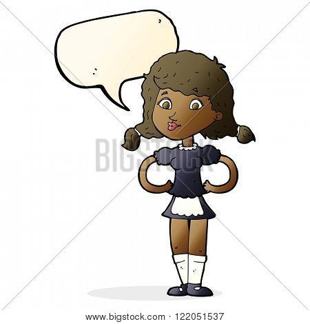cartoon happy waitress woman with speech bubble