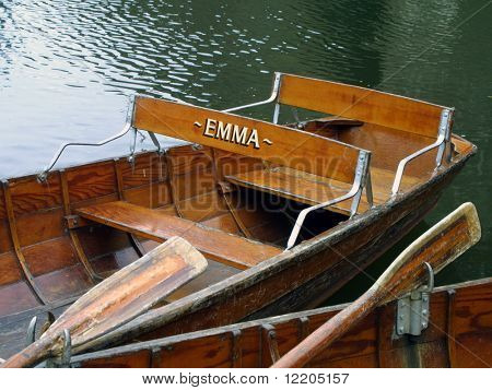 Empty rowing boats.