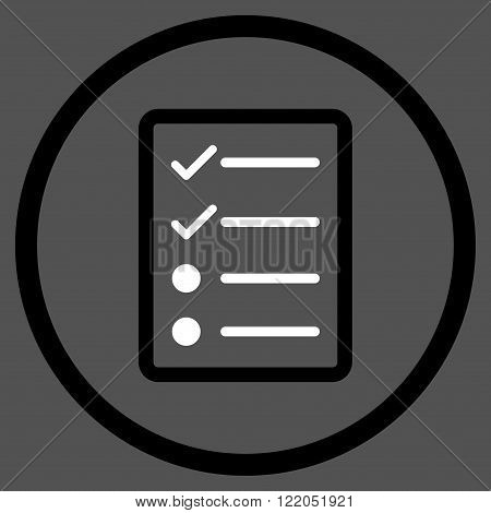 Checklist Page vector icon. Style is bicolor flat rounded iconic symbol, checklist page icon is drawn with black and white colors on a gray background.