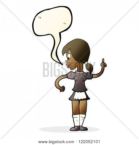 cartoon waitress calling order with speech bubble