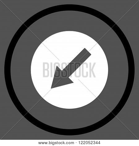 Down-Left Rounded Arrow vector icon. Style is bicolor flat rounded iconic symbol, down-left rounded arrow icon is drawn with black and white colors on a gray background.