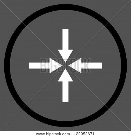 Impact Arrows vector icon. Style is bicolor flat rounded iconic symbol, impact arrows icon is drawn with black and white colors on a gray background.