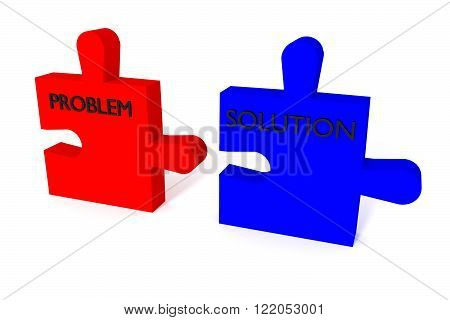 Red and blue puzzle problem and solution, jigsaw on a white background