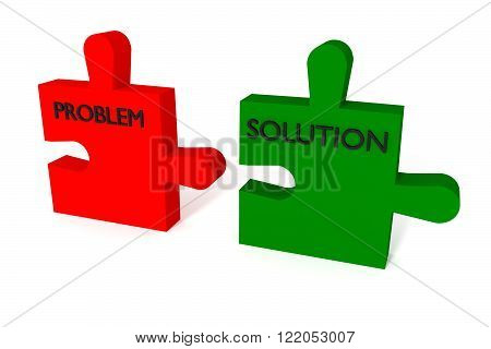 Red and green puzzle problem and solution, jigsaw on a white background