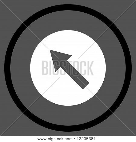 Up-Left Rounded Arrow vector icon. Style is bicolor flat rounded iconic symbol, up-left rounded arrow icon is drawn with black and white colors on a gray background.