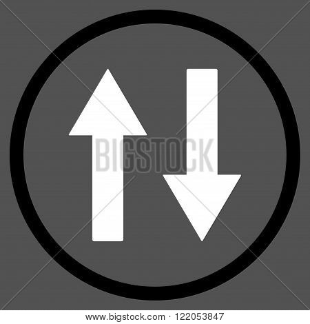 Vertical Flip Arrows vector icon. Style is bicolor flat rounded iconic symbol, vertical flip arrows icon is drawn with black and white colors on a gray background.