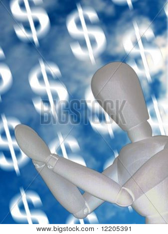 Mannequin praying for windfall