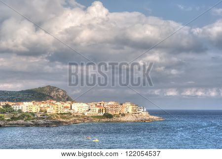 View of Marina di Camerota in a cloudy day