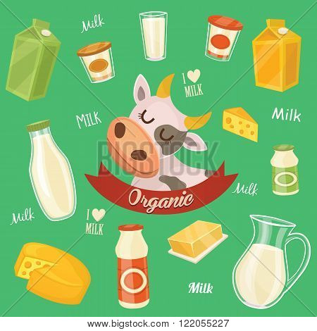 Dairy products isolated, vector illustration. Milk product icons collection. Healthy food. Organic food. Farmers product.