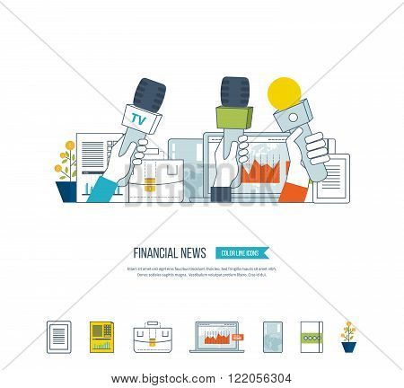 Financial news and strategy, planning strategy concept. Press conference and live news. Planning process. Financial news icons vector. Investment growth. Investment management.