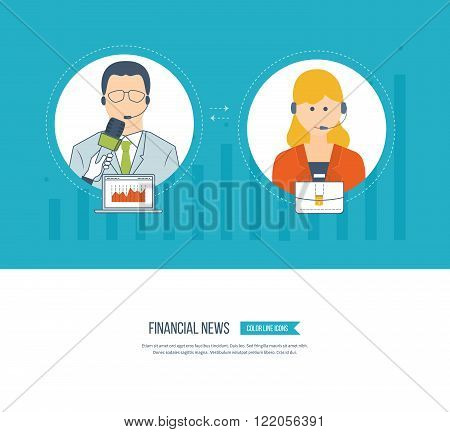 Business customer care service concept flat icons. Feedback. Technical support assistant. Social network and teamwork concept for web and infographic. Press conference and live news.