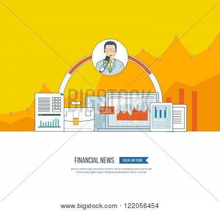 Financial news and strategy, planning strategy concept. Press conference and live news. Planning process. Financial news icons vector. Investment growth. Investment management. Financial report