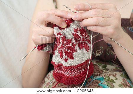 Woman Hands  Knitting Snowflake Pattern