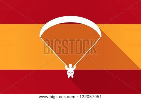 Spain  Long Shadow Flag With A Paraglider