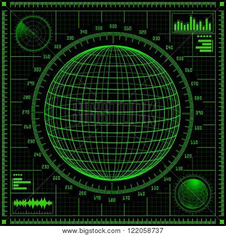 Radar screen with planet and futuristic user interface HUD.  Green infographic elements. Vector illustration.