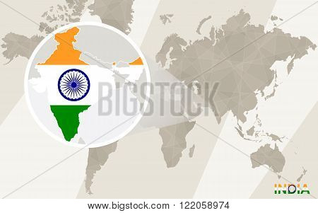 Zoom On India Map And Flag. World Map.
