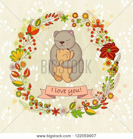 Vector cute card for Happy mothers day. Background with floral wreath and Mother's hugs. Cute bears - mom and bear cub.