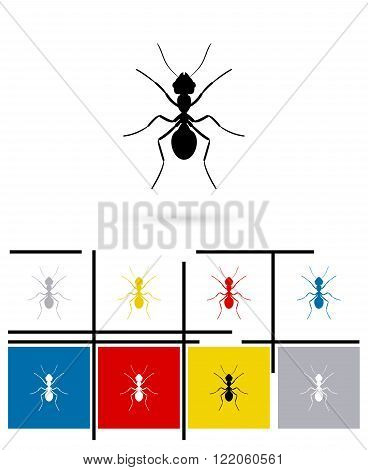 Ant silhouette icon or ant silhouette sign. Vector ant silhouette pictogram or ant silhouette symbol