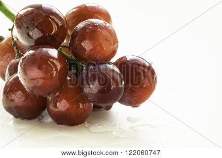 Bunch Of Red Grapes And Mouthwatering Mist