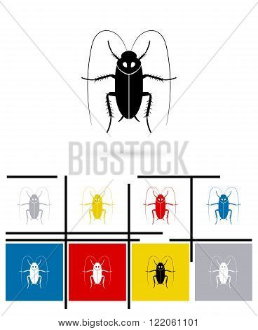 Cockroach icon or cockroach sign. Vector cockroach pictogram or cockroach symbol