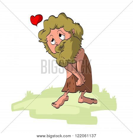 Colorful vector illustration of a cave man in love.